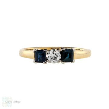 Old Cut Diamond & Square Blue Sapphire Engagement Ring, Vintage Three Stone 18ct & Platinum.