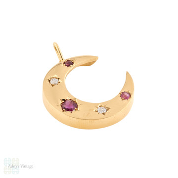 Victorian Ruby & Old Mine Cut Diamond Crescent Moon Pendant, Antique 12ct Rose Gold Necklace.