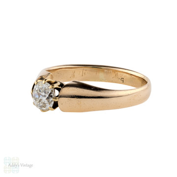 Old Mine Cut Diamond Engagement Ring, Antique 15 ct Solitaire on Tapered Band.