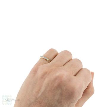 Vintage 14k Diamond Wedding Ring, 9 Stone Two-Tone Band Circa 1940s Size J.5 / 5.