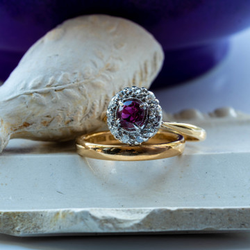 Ruby Engagement Ring with Diamond Halo, Vintage 18ct & Platinum Cluster Ring.