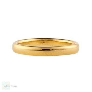 Vintage 22ct Wedding Ring, 1950s Narrow Ladies 22k Gold Wedding Band. Size M / 6.25.