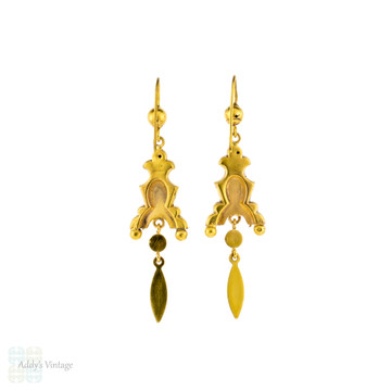 Victorian Floral 9ct Gold Dangle Earrings, Antique Articulated Cannetille Drops.