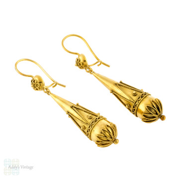 Victorian Etruscan Revival Earrings, Antique 15k 15ct Gold Torpedo Shape Cannetille Drops.