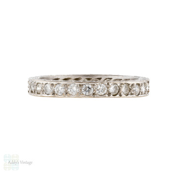 Vintage 18ct Diamond Eternity Ring, Full Hoop 18k White Gold Wedding Band Size M / 6.25.