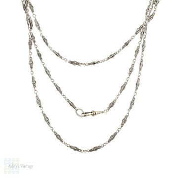 "Antique French Silver Long Guard Chain, Fancy Foliaite & Ridged Link 62"" Necklace."
