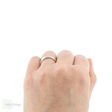 Wide 18ct Starburst Engraved Wedding Band, Star Design 18k White Gold Ring Size O / 7.25