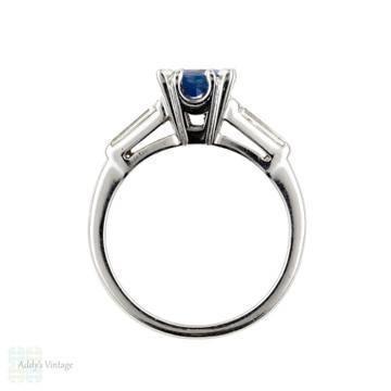 Vintage Sapphire & Diamond Engagement Ring, Platinum 1940s Tapered Baguette Setting.