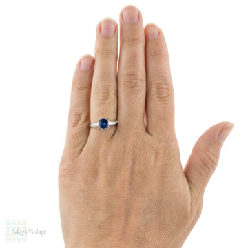 RESERVED Vintage Sapphire & Diamond Engagement Ring, Platinum 1940s Tapered Baguette Setting.