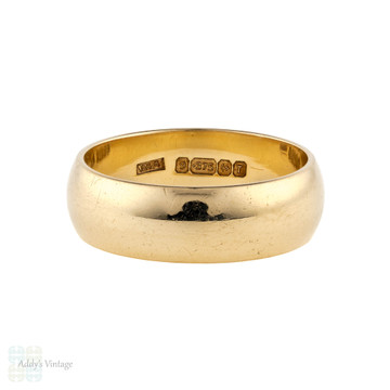 Wide 9ct Yellow Gold Ladies Wedding Ring, Vintage 1960s 9k Band Size N / 6.75.
