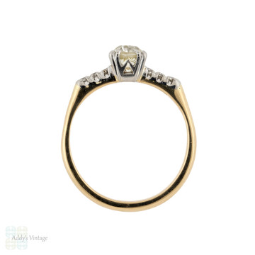 Antique Old Mine Cut 0.74ct Diamond Engagement Ring, 18ct Platinum Triple Claw Design.