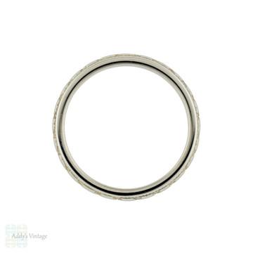 Engraved Art Deco Wedding Band, Vintage Narrow 18ct 18k White Gold Ring Size I / 4.5.