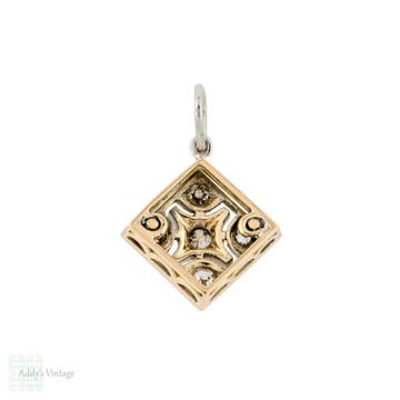 Antique Old European Cut Diamond Pendant, 9ct & Platinum Kite Set Filigree Charm.