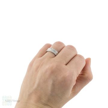RESERVED Diamond Double Row Wedding Ring, Vintage 18ct Gold & Platinum Half Hoop Anniversary Band.