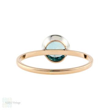 Blue Zircon Silver & 9ct Rose Gold Ring, Victorian Conversion Bezel Set Single Stone.