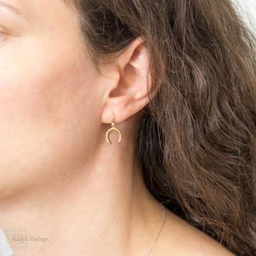 Victorian Horseshoe Drop Earrings, Antique Dangles 15ct Yellow Gold with 9ct Wires.