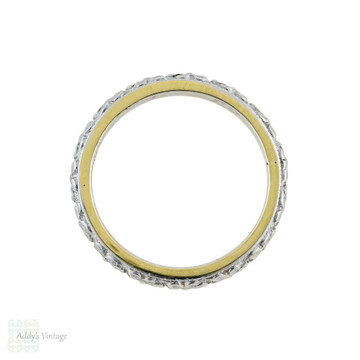 Orange Blossom Engraved Wedding Ring, Art Deco 18k 18ct Two-Tone Floral Band Size H.5 / 4.