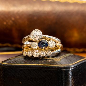 Sapphire & Old European Cut Diamond Engagement Ring, Vintage Three Stone 18ct Palladium