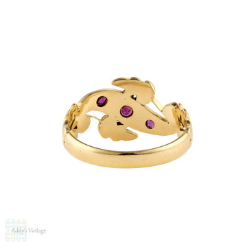 Ruby, Seed Pearl & Rose Cut Diamond Ring, Edwardian 18ct Yellow Gold Band.