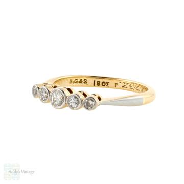 Five Stone Diamond Engagement Ring, Art Deco Graduated Bezel Set Band 18ct Gold.