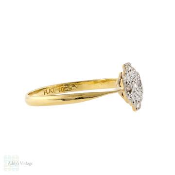 Edwardian Diamond Engagement Ring, Geometric Design Panel 18ct & Platinum