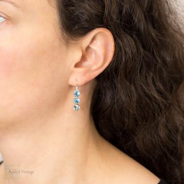 Blue Zircon Silver Drop Earring Conversion, Three Victorian Graduated Bezel Set Gems