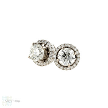 Diamond Earring Halo Jackets, 18ct Gold Stud Enhancers for 6mm, 1.5 - 2ctw Studs.
