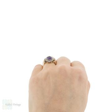 Amethyst Vintage Cocktail Ring, Retro Ballerina Style Diamond Halo 18ct 18k Gold Dress Ring.