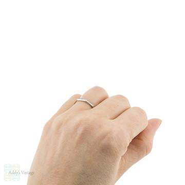 Platinum Engraved Wedding Ring, Narrow Faceted & Ridged Design Ladies Band Size M.5 / 6.5