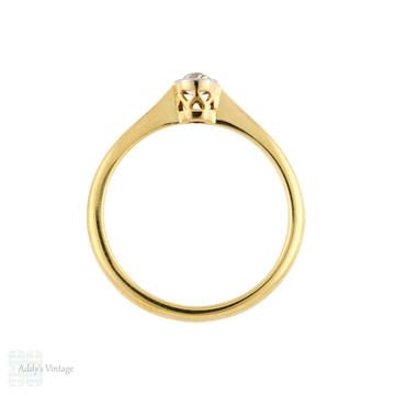 Old Mine Cut Diamond Engagement Ring, Antique Victorian 18ct PLAT Bezel Single Stone.
