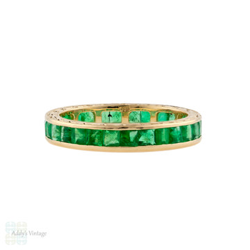 Emerald Eternity Ring, Chanel Set Full Hoop Wedding Band. 14k 14ct Gold Size O.5 / 7.5.