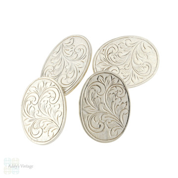 Vintage Engraved Sterling Silver Cuff Links, 1960s Deakin and Francis Floral Double Face Cufflinks.