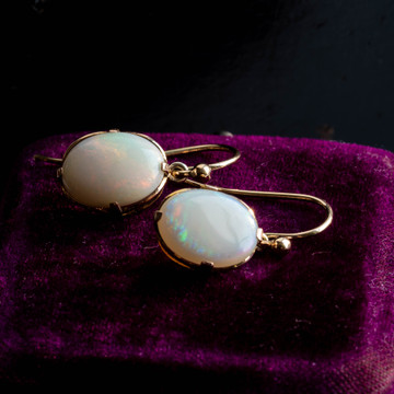 Opal 9ct Gold Dangle Earrings, Antique 9k Oval Cabochon Drops.