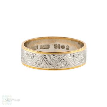 Vintage 22ct & Platinum Engraved Wedding Ring, Wide 22k Gold Band Size L / 5.75.