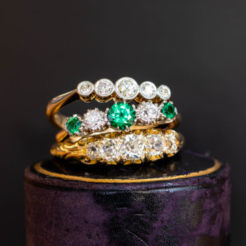 Victorian Old Mine Cut Diamond Ring, Graduated Five Stone 18ct 18k Yellow Gold Band.