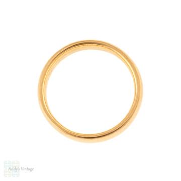 Art Deco 22ct Wedding Ring, 1920s Wide Ladies 22k Gold Wedding Band Size K / 5.25.