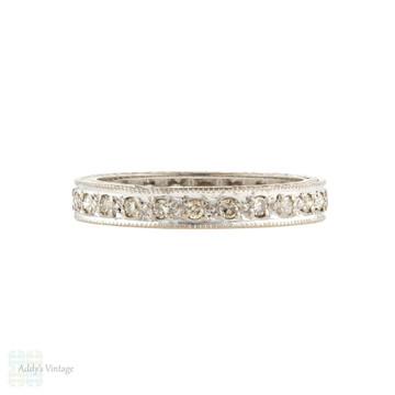 Vintage 18ct 18k Diamond Eternity Ring, 1970s 0.36 ctw Full Hoop Wedding Band Size M / 6.25.