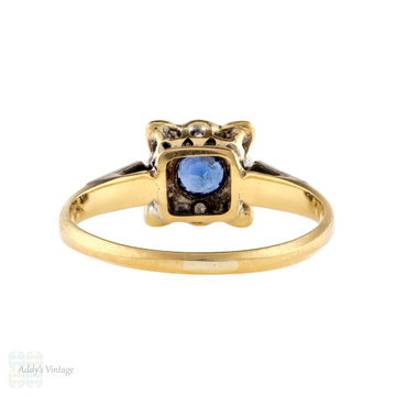 Art Deco Sapphire & Diamond Engagement Ring, Vintage Square Halo 18ct 18k Gold.