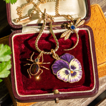 Sapphire & Seed Pearl Dragonfly Pendant, Large 9ct Yellow Gold Bug Converted Necklace.