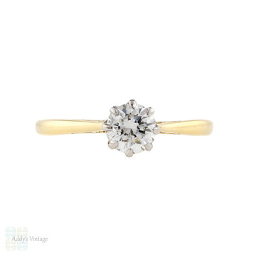 Vintage Diamond Engagement Ring, 0.50 ct Solitaire 18ct 18k Yellow Gold.