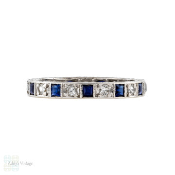 Full Hoop Gemstone Wedding Ring, Vintage Synthetic Sapphire & Spinel 9ct Band Size O / 7.25.