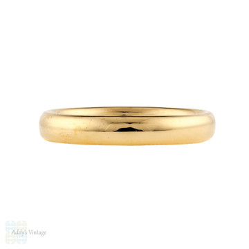 1920s Vintage 18ct Ladies Wedding Ring, Art Deco 18k Classic Band Size O.5 / 7.5.