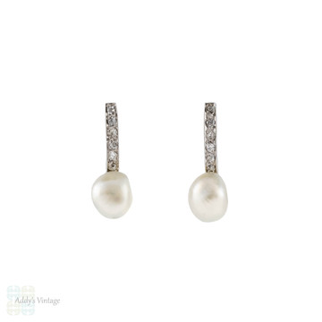 Old Cut Diamond & Cultured Pearl Stud Earrings, Antique 18ct 18k White Gold.
