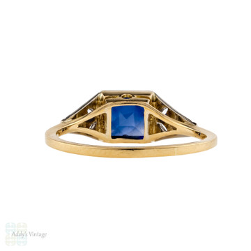 RESERVED Art Deco Engagement Ring, Antique French Cut Synthetic Sapphire & Diamond 18ct Gold Ring.