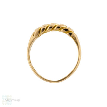 Victorian 18ct Keeper Ring, Wide Antique Braided 18ct Band 1890s.