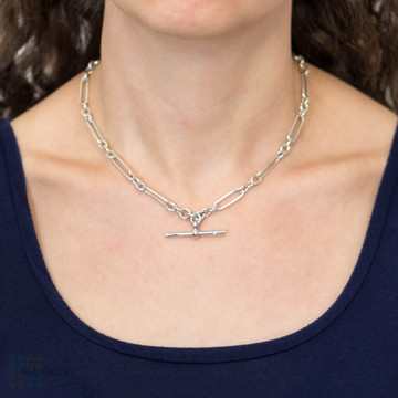 Art Deco Sterling Silver Oval Link Chain, 1920s Long Trombone Link 17 inch Necklace.