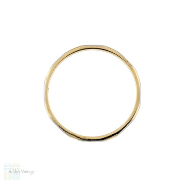 Two Tone 9ct Platinum 1950s Wedding Band, Ladies Engraved Slender Spacer Ring Size P / 7.75.