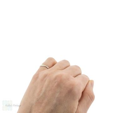 Vintage Slender Platinum Ladies Wedding Ring, Simple Narrow Spacer Band Size J.5 / 5.