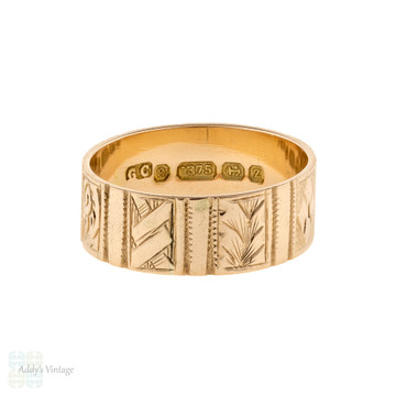 RESERVED 1920s Engraved Wedding Ring, Wide Patterned 9ct 9k Rose Gold Cigar Band Size P.5 / 8.