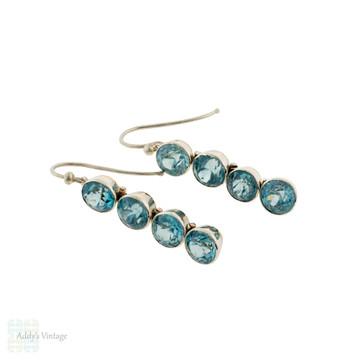 Blue Zircon Silver Drop Earring Conversion, Four Victorian Graduated Bezel Set Gems